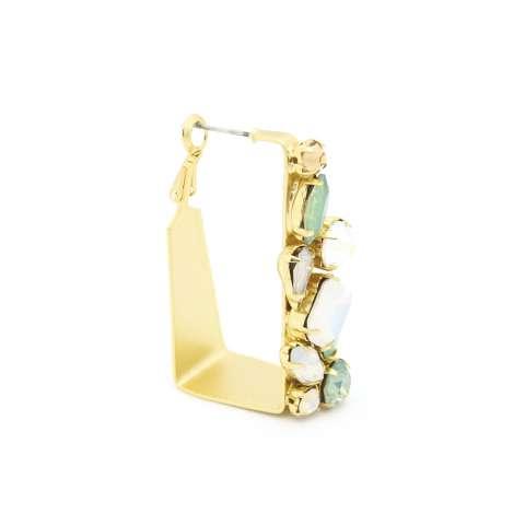 Orecchini pendenti oro squadrati cristalli verdi