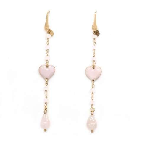 Orecchini pendenti rosario argento 925 oro rosa cuore rosa