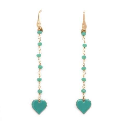 Orecchini pendenti rosario argento 925 oro rosa cuore verde
